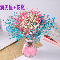 Dried flower bouquet home furnishings small fresh living room bedroom Yunnan forget-me-not gypsophila lover grass real flower decoration