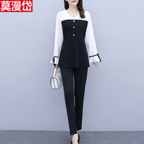 Stylish long-sleeved suit girl early autumn new royal sister Fan light ripe style high-end temperament goddess thin cover meat two-piece set.