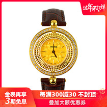 Gold watch female pure gold genuine 999 gold watch imported quartz movement waterproof rotatable bezel gold watch