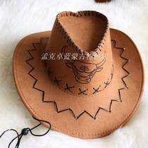 Mongolian hat Inner Mongolia cowboy hat prairie characteristic tourism commemorative photo western cowboy big along the hat.