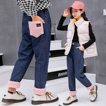 Girls jeans winter 2019 New children plus velvet thick pants in the Big child foreign loose casual pants