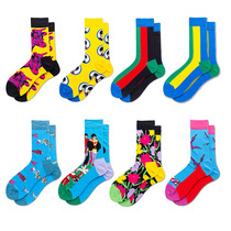 Foreign Trade new socks Tide brand with the geometric contrast color stockings mens cotton socks