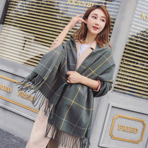 Korean version of the winter grid long scarf men and women imitation cashmere two-use shawl hundred college students thick warm neck.