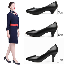 Large size professional dress high heels work shoes female black comfortable thick with soft bottom stewardess interview etiquette shoes shoes