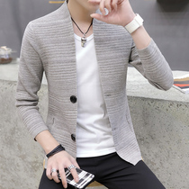 Knit cardigan male Korean version of the V-neck wear spring and autumn thin section of the trend of handsome casual sweater mens sweater coat