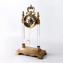 American retro desk clock study living room office decoration pure copper set with earthen gold crystal ball clock.