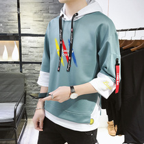 Mens sweater hooded seven-point sleeves loose Korean version of the trend of five-point sleeves students with summer thin section short-sleeved suit