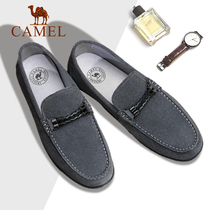 Camel mens shoes 2019 summer business mens leather peas shoes Korean casual lazy shoes tide shoes mens shoes