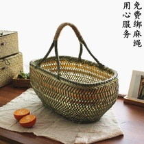 Bamboo basket round basket handmade bamboo products hand basket vegetable basket Egg Basket Fruit storage bamboo basket bamboo basket bamboo bamboo