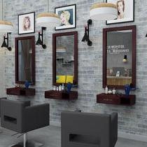 Luxury barber shop Solid wood hair mirror lifting combination beauty salon mirror new toilet racks