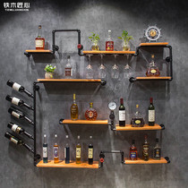 Retro industrial wind wall decoration wine rack bar bar wall hanging iron solid wood shelves wall shelf
