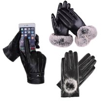 Warm mens and womens Gloves drive outdoor touch screen leather gloves for men and women in winter with velvet windproof warm mens motorcycles