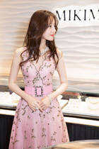 Star with the same paragraph evening dress female pink V-neck birthday party dress skirt usually can wear Fairy Summer