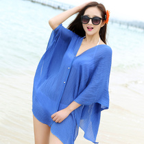 Korean version of the beach towel sunscreen shawl summer electric car smock female driving cycling sunshade shawl scarf