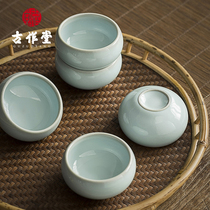 Gu zuotang ruyao small cup ceramic open piece can be raised tea small cup retro ice crack Kung Fu Tea Cup single cup