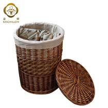 Rattan straw dirty storage large basket toilet storage box clothes large basket covered bedroom o