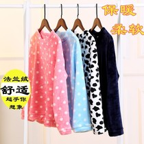 Pajamas single spring and Autumn Winter coral velvet ladies flannel warm long-sleeved hedging home service