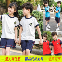Primary school students graduating class clothes summer suit fashion girls uniforms short-sleeved cotton summer kindergarten clothing sports