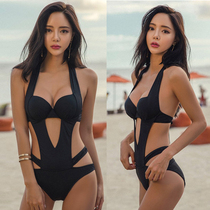 2019 sexy bikini One-Piece Swimsuit female was thin steel care gather Fashion Black Hollow backless swimsuit hot spring