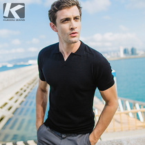 Special] mens lapel knit T-shirt cold and smooth knit fabric summer breathable slim 17070
