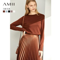 Amii long-sleeved round neck sweater female 2019 autumn new knit underwear shirt thin section loose pullover