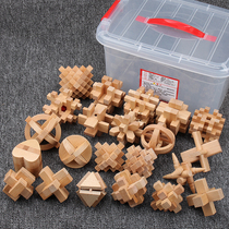 Kongming lock Luban wooden childrens classical adult unlock intelligence toys nine serial students mortise and tenon 22 sets
