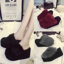 Outside wear thick bottom rabbit hair slippers female 2018 new autumn and winter slope with fish mouth high heel anti-skid thickened hair slippers