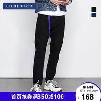 Lilbetter jeans mens tide brand Korean version of pants trend slim shortpants mens black denim trousers