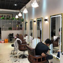 Hair net red light mirror barber shop mirror Taiwan salon dedicated LED touch simple tide section one wall mirror
