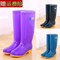 Rain shoes anti-skid high-barrel boots fashion long tube medium tube &; Boots plus velvet warm lady rubber shoes spring and autumn water shoe bag.