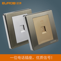 European switch socket a telephone socket E9 stainless steel wire drawing socket panel switch socket