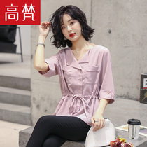 Gao Vatican 2019 spring new womens Korean fashion slim waist five-point sleeve shirt short-sleeved solid color chiffon shirt