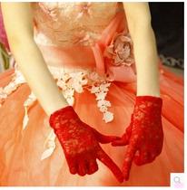Wedding wedding supplies bridal wedding gloves Korean lace short red gloves