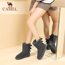 Camel snow boots 2019 autumn and winter shoes sweet cute bow female boots comfortable non-slip boots womens tide