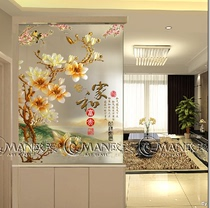 Modern Chinese art glass screen partition living room entrance carved background entry shoe cabinet frosted translucent Magnolia