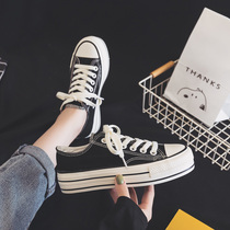2019 tide shoes new ulzzang canvas shoes shoes thick ins shoes wild casual shoes black shoes