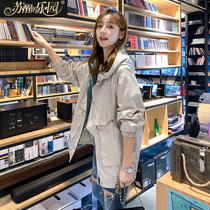 Windbreaker Spring 2019 New coat Korean version fashion trend hooded long-sleeved casual temperament simple medium length