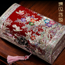 Kam bei legend Luodian lacquer jewelry box with lock Princess European-style solid wooden hand jewelry storage box wedding gift