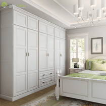 Blue Solid wood Whole house custom whole wardrobe walk-in cloakroom American country corner to top custom-made
