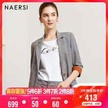 Na ER si lattice small suit jacket female 2019 autumn new short paragraph business plaid Korean version of the small suit jacket