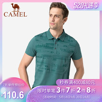 Camel brand mens summer new fashion printing casual short-sleeved T-shirt mens micro-elastic breathable lapel polo shirt