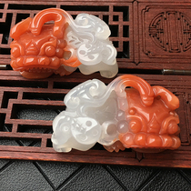 Yunnan Yellow Dragon Jade King pendant natural genuine Jade lucky brave luck when the head of yin and Yang feet