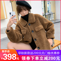 2019 autumn and Winter new grain wool coat female long section sheep shearing jacket fur one lamb velvet fur