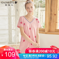 Goerel sweet cute sexy print short-sleeved pajamas girls Spring Summer nightdress home service 19071HD