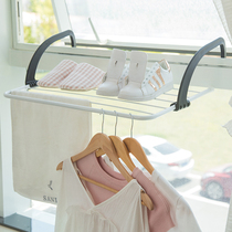 Window outside the balcony drying rack windowsill Guardrail sunscreen shoe shelf foldable small drying rack radiator rack