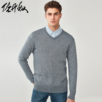 Giordano V-neck sweater mens combed cotton heart collar sweater mens pullovers 30058801