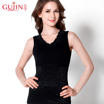 Ancient and modern comfort lace V collar sleeveless light plastic top 3d167