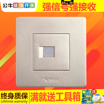 Bull telephone socket panel 86 type one phone Wall phone telephone line socket Golden