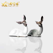 Shang Yan Fang tea pet decoration tea set accessories tea ceremony brother kiln imitation Ru kiln tea pet mini tea play deer
