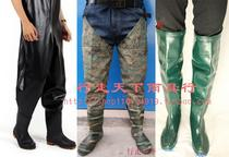 In the high tube over the knee rice planting shoes fishing boots rain boots water pants leather fork men and women Paddy shoes with lock saliva shoes